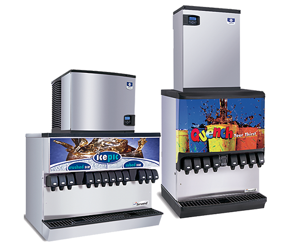 multiplex ice and beverage dispensers